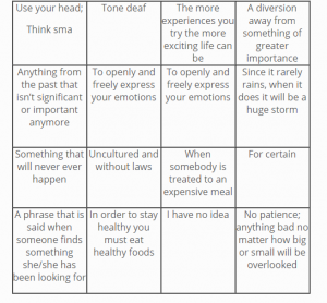 Metaphor Bingo